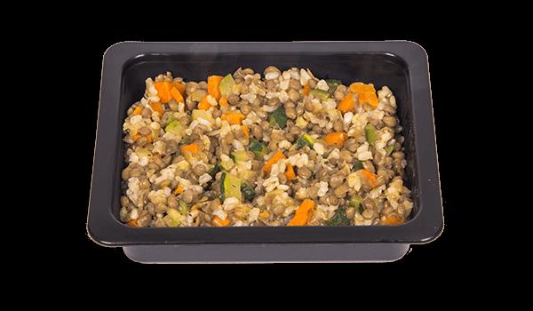 Arròs integral amb llenties i verdures