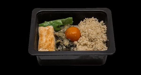 Mini menú de quinoa amb bacallà